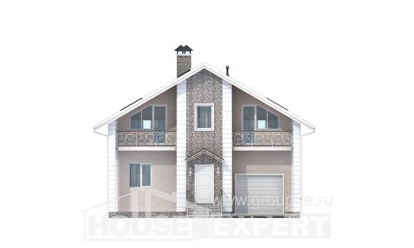 150-002-R Two Story House Plans and mansard with garage, a simple Drawing House