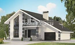 180-001-R Two Story House Plans and mansard and garage, cozy Villa Plan