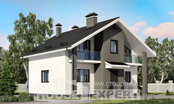 150-005-L Two Story House Plans with mansard roof, modern Timber Frame Houses Plans