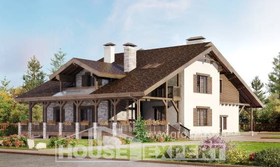 340-003-R Two Story House Plans and mansard with garage in front, big Blueprints of House Plans