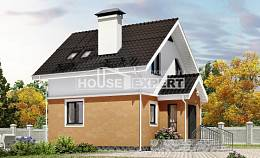 070-001-L Two Story House Plans with mansard roof, compact Architects House
