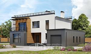 260-002-R Two Story House Plans with garage under, classic Home House