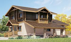 170-004-R Two Story House Plans with mansard roof with garage under, available Drawing House