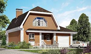 160-006-R Two Story House Plans with mansard with garage under, small House Plan