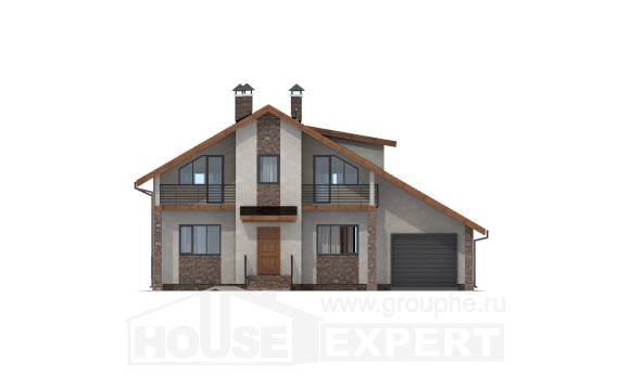 180-008-R Two Story House Plans with mansard roof with garage, modern House Plans