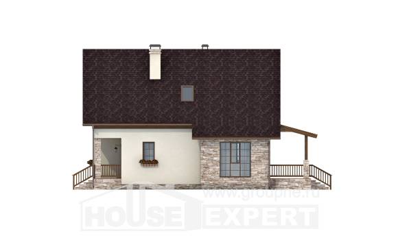 140-001-R Two Story House Plans with mansard roof, inexpensive Architect Plans