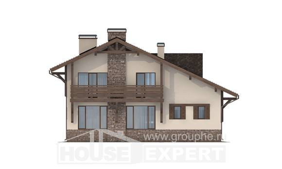 190-007-L Two Story House Plans with mansard with garage in front, luxury Home Blueprints