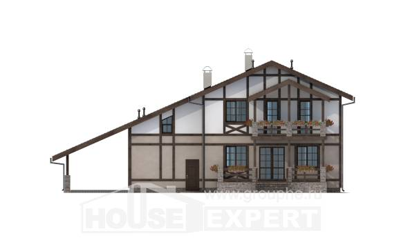 250-002-R Two Story House Plans with mansard with garage under, average House Plan