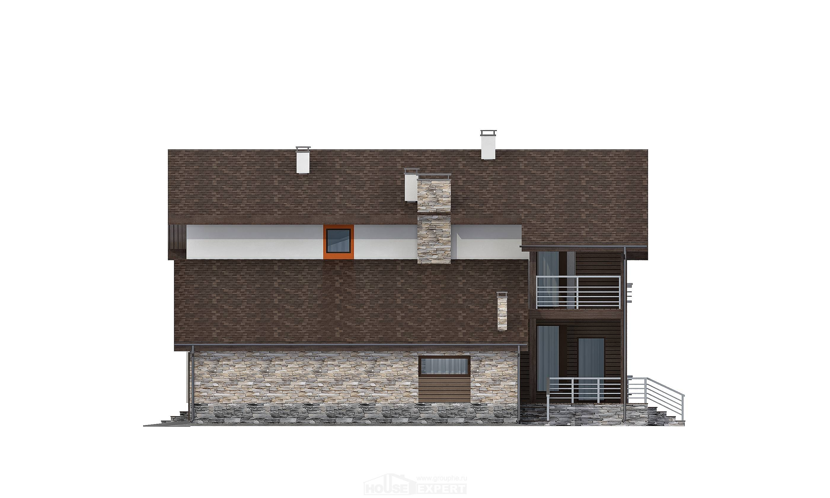 240-004-R Two Story House Plans with mansard roof with garage in front, modern House Plans