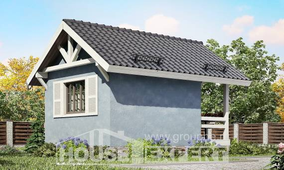 020-001-R One Story House Plans with mansard roof, cozy Design Blueprints