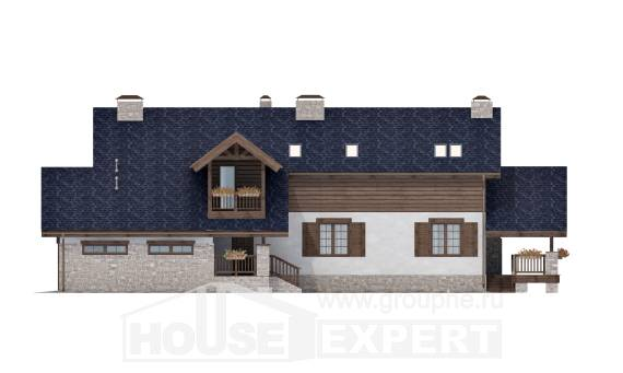 280-003-L Two Story House Plans with mansard roof with garage in back, luxury House Building