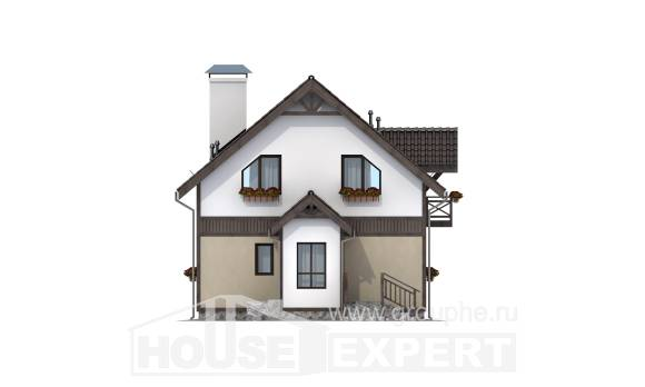 105-001-R Two Story House Plans with mansard, economical Design Blueprints