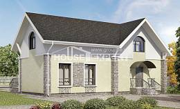150-012-R Two Story House Plans with mansard roof, economical Drawing House