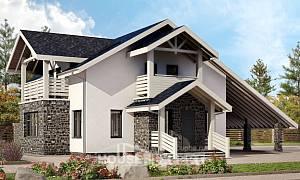 155-010-R Two Story House Plans with mansard with garage, compact Dream Plan