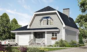 160-006-L Two Story House Plans with mansard roof and garage, the budget Floor Plan
