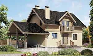 150-011-L Two Story House Plans with mansard with garage, the budget Villa Plan