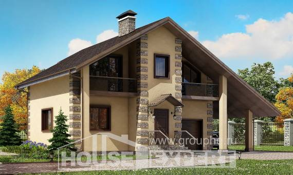 150-003-R Two Story House Plans with garage in front, compact Villa Plan