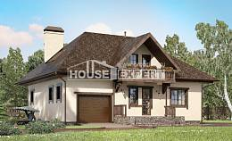 200-001-L Two Story House Plans and mansard with garage, spacious Woodhouses Plans