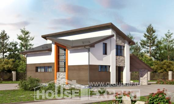 200-010-R Two Story House Plans with mansard roof and garage, cozy Woodhouses Plans
