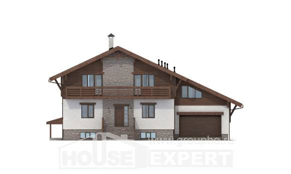 420-001-R Three Story House Plans with mansard roof with garage in front, cozy Floor Plan
