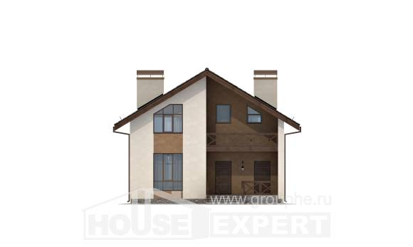 170-002-R Two Story House Plans with mansard roof, inexpensive Custom Home Plans Online