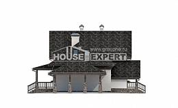 160-002-L Two Story House Plans with mansard with garage under, modern Construction Plans