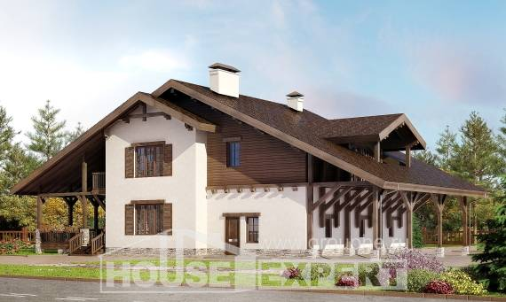 340-003-R Two Story House Plans with mansard roof and garage, big House Plan