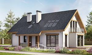 185-005-R Two Story House Plans with mansard and garage, luxury Construction Plans