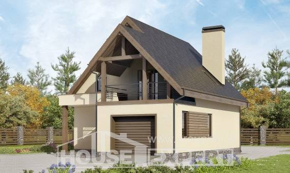 120-005-L Two Story House Plans with mansard with garage, modest Planning And Design