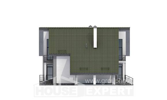 170-009-L Two Story House Plans with mansard roof and garage, modern Design House