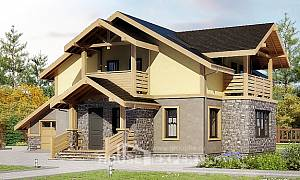 180-011-R Two Story House Plans with mansard roof and garage, a simple Cottages Plans