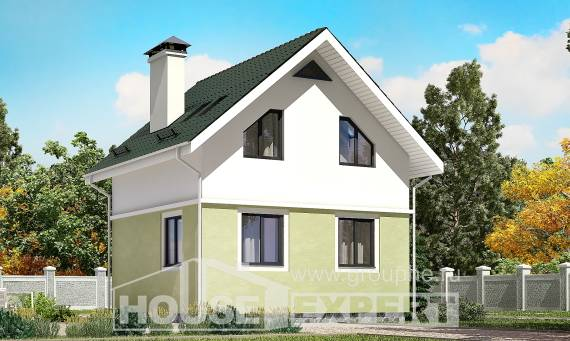 070-001-R Two Story House Plans with mansard roof, modest Building Plan