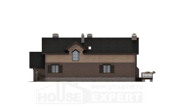 240-002-R Two Story House Plans and mansard with garage under, luxury House Blueprints