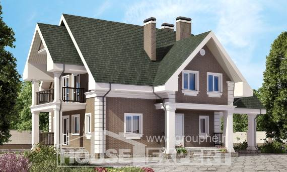 140-003-R Two Story House Plans with mansard roof with garage under, modest Villa Plan