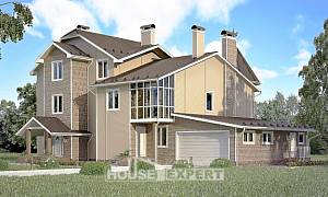 555-001-L Three Story House Plans and mansard and garage, cozy Design Blueprints