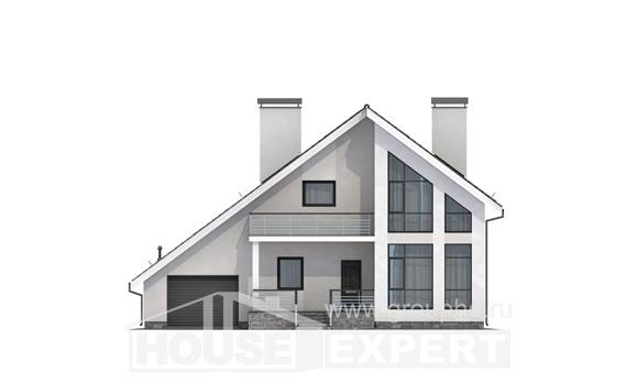 200-007-L Two Story House Plans with mansard roof with garage in front, classic Drawing House