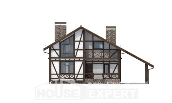 155-002-R Two Story House Plans with mansard roof and garage, available House Planes