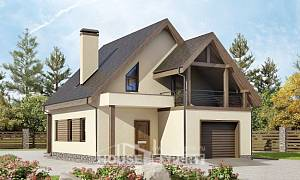 120-005-L Two Story House Plans and mansard with garage under, modern Ranch