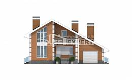 190-006-R Two Story House Plans and mansard with garage in front, cozy House Building