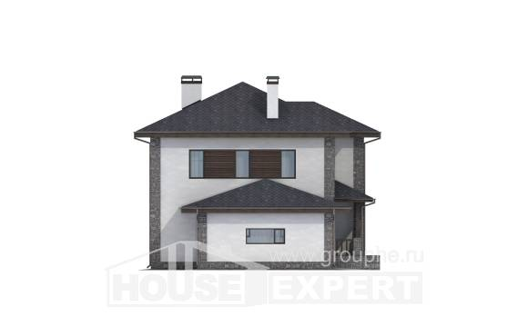 185-004-L Two Story House Plans with garage under, spacious Woodhouses Plans