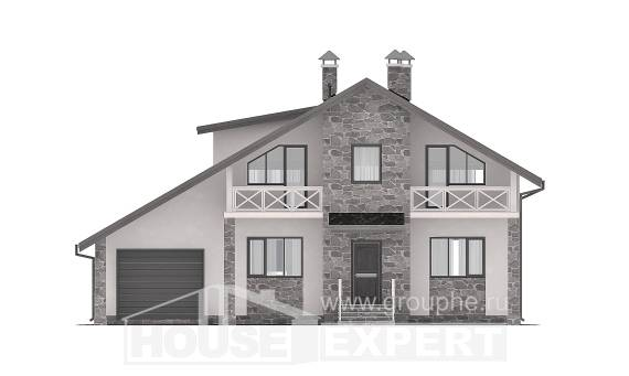 180-017-L Two Story House Plans with mansard with garage under, luxury House Plans,