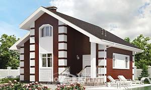 115-001-R Two Story House Plans with mansard roof, economical Villa Plan